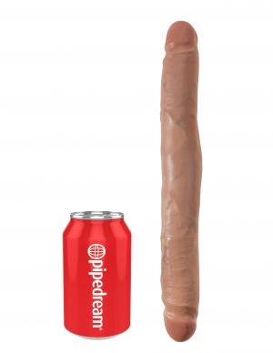 King Cock 12 Slim Double Dildo Tan